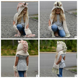 Wholesale Knitting Baby Scarf Hat - 2 Colors Knitted Unicorn Hats Scarf Tassels Baby Winter Warm Hats Kids Cartoon Cute Unicorn Knitted Beanies Caps CCA8149 10pcs