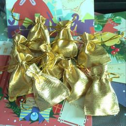 50 pcs / lot 5 * 7 cm doré tissu bijoux cadeau emballage sac anneau collier boucle d'oreille stockage sac petits articles cordon sac pochette BZ169 $ 18 no tra ? partir de fabricateur