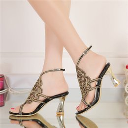 Wholesale Sandals Black Party High Heel - 2016 New Designer Black Summer Sandals Rhinestone High Heel Women Shoes Fashion Wedding Party Shoes Chunky Heel Bridesmaid Shoes