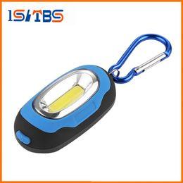 Wholesale Keychain Flashlight Red Light - COB LED Flashlight Light 3-Mode Mini Lamp Key Chain Ring Keychain PVC Lamp Torch Keyring Green Red Yellow Blue