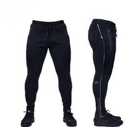 Wholesale Boys Black Trousers - Wholesale-Male Fitness Pants Sweat Pants Men Gym Aesthetics Pan Sport Wear For Runners Gray Clothing Thin Jogging Sweat Trousers Boys