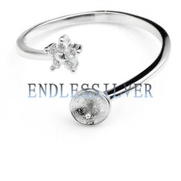 Wholesale Ring Star - Ring Settings Little Star Zircon 925 Sterling Silver DIY Jewellery Findings Pearl Mounting for Pearl Party