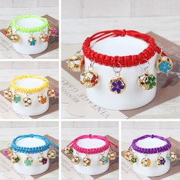 Wholesale Fashion Id Necklaces - 18-32CM Pet Shop Hand Woven Necklace Jewelry Cats and Dogs Adjusted Pure Small Hollow bell collar fashion