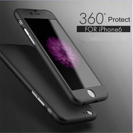 Wholesale Hard Case I5 - 360 Full boby protection Iphone case Hybrid Tempered Glass and Acrylic Hard Case For Iphone 7 Goophone I6 Plus i5 5s