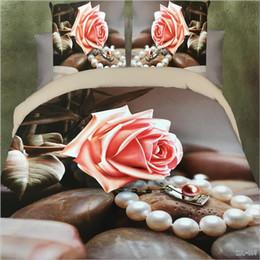 biancheria da letto 3d set Sconti 3D fiori stampa reattiva cotone 4 pz set di biancheria da letto copripiumino duvet / lenzuolo federa biancheria da letto tessili per la casa AS11002