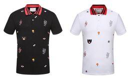 Wholesale Hand Embroidery Fashion - 2017 Fashion Men Polos shirts Bee Snake Embroidery Floral print shirt short sleeve solid cotton polo t shirt Harajuku Casual poloshirt