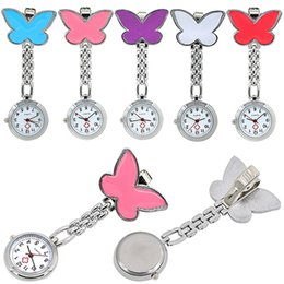 Wholesale Nurse Watch Butterfly - Pocket Medical Nurse Fob Watch Women Dress Watches 7 Colors Clip-on Pendant Hanging Quartz Clock Butterfly Shape New