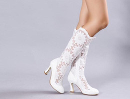 Wholesale Custom Made Band - Fashion White Lace Bridal Wedding Boots Shoes Mid Heels Knee Length Cowgirl Bridal Boots Custom Made Fall  Winter Black Lace Long Shoes