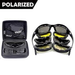 Wholesale Military Framing - Daisy C5 Polarized Army Sunglasses 4 Lenses, UV400 Military Goggles, Night Vision Sports Sun Glasses with Hard Case, War Game Glasses