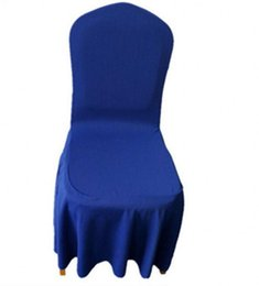 Wholesale Light Gold Satin Wedding Chairs - 2018 Elegant Royal Blue Satin Chair Covers 45*45*90CM Stretch Wedding Supplies Desk Chair Covers Special Occasion Hotel Wedding Chair Covers