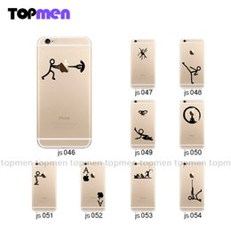 Wholesale Iphone Sticker Designs - Wholesale-Vinyl Decal Sticker for iPhone 4 4s 5 5s 6 6s 6 Plus Skin Many Cartoon Design Humorous Stick Figure Pattern High Quality New