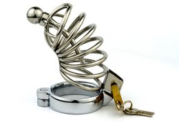 Wholesale Lock Cock Sex - Male Chastity Device Chastity Belt Lock Stainless Steel Cock Cage Sleeve Penis Ring Cock Ring Sex Product BDSM Sex Toys for Men