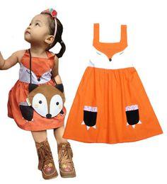 Wholesale One Piece Fox - 2016 Girls Fox Dress sleeveless Orange one Piece Cute dresses 2T-8T girls fox dress tutu dresses for baby girls Free shipping E978