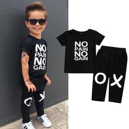 Wholesale Pain Neck - Toddler Kids Baby Boy Clothes Set Outfits Clothes No pain no gain T-shirt Top Short Sleeve Pants 2pcs Boys Clothing Set
