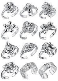 2018 nouvelle mode plaqué bague en argent Sterling 925 peut être ajusté anneau d'ouverture coeur d'amour FLOWER arc anneaux mélange 12 style ? partir de fabricateur