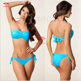 Wholesale Halterneck Bandeau Bikini - Women Push Up Padded Bikini Halterneck Bandeau Bikinis Triangle Swimwear Fashion Swimsuit Sexy Bath Suit Beachwear Bras Top Bottom A657 300