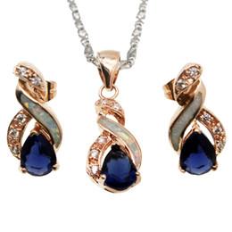 Pendientes de ópalo blanco natural online-Regalo de Navidad Conjuntos de Joyas Natural Blanco Opal Rose Gold Plated Blue Zafiro 8 Diseño Colgante Collar Pendiente OPJS9