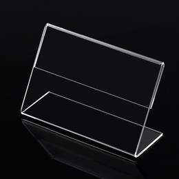 Wholesale Plastic Paper Display Stand - Clear 6x4cm L Shape PMMA Acrylic Plastic Table Sign Price Tag Label Display Paper Promotion Card Holder Stand 50pcs