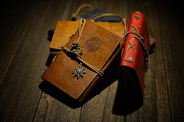 Wholesale Notebook Wholesale Memo - Popular Vintage Pirates Leather Notebook Fashion 5 Colors Selection 15*10 CM Kraft Paper Creative Business Diary