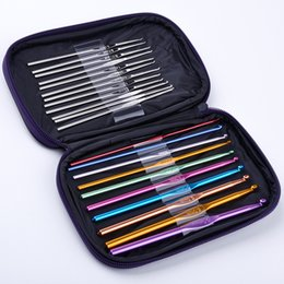 Wholesale Embroidery Cases - 22 Pcs Set Multi Stainless Steel Needles Crochet Hooks Set Knitting Needle Tools With Case Yarn Craft Kit