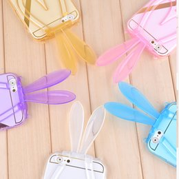 Wholesale Rabbit Iphone 4s - Cute 3D Rabbit Ears Case for iPhone 6 6S Plus 4.7 5.5 inch 4 4S 5 5S with Stand Function Soft TPU Transparent Protective Cover MOQ:100pcs