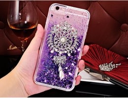 Wholesale Wholesale Bling Brooches - Luxury Diamond Brooch Flower Cover Dynamic Liquid Bling Quicksand Capa Case for iphone 8 7 7plsu Case For samsung S8 S8 plus Phone Cases