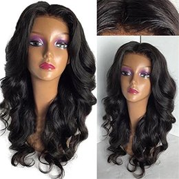 Wholesale Brazilain Natural Wave Wig - Grade 9A Brazilain Lace Wigs Human Hair With Baby Hair Natural Hairline Body Wave Lace Front Wigs Middle Part