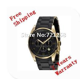 Wholesale Wrist Watch Original Straps - free hk shipping _Absolute luxury New AR8023 Brown Silicone Strap Gold Case Men's Watch Sports CHRONOGRAPH WRIST Gents WATCH +original box
