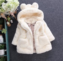 Wholesale Baby Fleece Hoodies - Free EMS 2016 New Winter Girls Baby Fashion Fur Coats Thickening Princess Coat Hoodies Zipper Long Sleeve Coat Children Winter Coats 3 Color