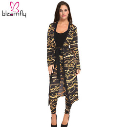 Wholesale women s silk pants suit - Autumn Women 2 pieces Set Ladies Tops + long pants suits Fashion silk Cardigan Female Chain print Bandage loose clothing 2017