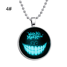 Wholesale Devil Pendant Wholesale - 19 styles Devil Smile Skull Witch Spectre Necklace Glass Cabochon Pendant Necklaces Glow In Dark Halloween Cosplay Statement Jewelry