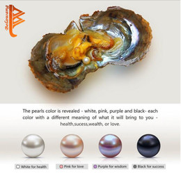 Wholesale Black Fresh Water Pearls - BELAWANG 4 Colors Fresh Water Oyster Pearl White Pink Purple Black Natural Oval Round DIY Pearl 7.5-8mm Vacuum Packaging Free Shipping