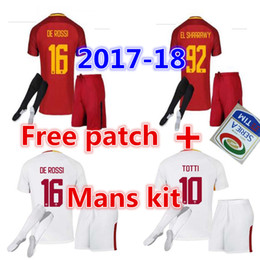 Wholesale Free patch Rome soccer TOTTI DZEKO Men Sports Embroidery DE ROSSI Jersey ROMAS EL SHAARAWY NAINGGOLAN Football shirt