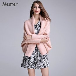 Wholesale Thick Poncho Sweater - Wholesale- European Fashion Women Loose Shawl Batwing Cardigan Solid Color Thick Knitted Poncho Sweater Pink Black White Batwing Cape Coat
