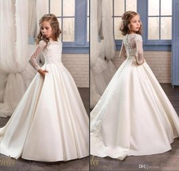 Wholesale Dresses For Graduation Party - Princess White Lace Flower Girl Dresses For Wedding 2018 Sheer Long Sleeves First Communion Birthday Party Dresses Girls Pageant Dress