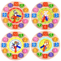 Wholesale Wood For Children - Puzzles Games 1Pcs Set Animal Cartoon Educational Toys For Children Digital Wooden Clock Beaded 4 Models
