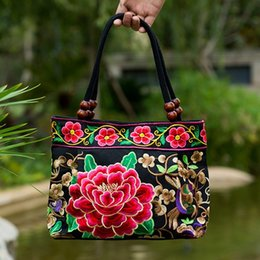 Wholesale Ethnic Bags - Chinese style Handmade embroidery ethnic women handbag summe fashion Flowers cross-body shoulder-bag Ethnic Bags Ladies Tote