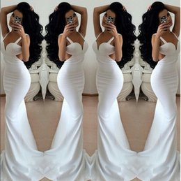 Wholesale Dress Semi Sexy - White Mermaid Long Semi Formal Dresses Evening Wear Sexy Backless Sweetheart Neck Women Trumpet Prom Party Gowns 2016 Cheap Pageant Wear