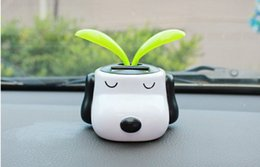Wholesale Shaking Head Dolls - 2PC Cute Car Styling Solar Dog Doll Shaking Head with Sunflower Car Accessories Interior Ornament