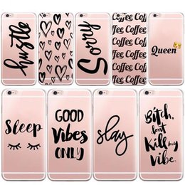 Wholesale Iphone 5c Case Fashion - Fashion English Sushi Coffee Words Soft Clear transparent TPU Silicone Case for iPhone X 10 8 7 6 6s Plus 5S 5C Case