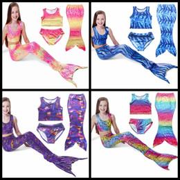 Wholesale Wholesale Bathing Suits For Kids - Mermaid swimwear Baby Girls Bikini Fashion Girl Swimsuit Mermaid Tail For Swimming 3pcs set swimsuit Kids Bathing Suits