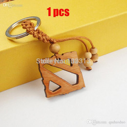 Wholesale Logo Wood Jewelry Chain - Wholesale-1PCS Game Theme Dota 2 Logo Keychain Wooden Hollow Dota2 Logo Pendant Key Chain Figure Toy Classic Jewelry Gift Keyring For Mens