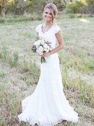 Wholesale Simple Elegant Dress Designs - New Design Elegant V-neck Sheath Lace Vintage Cap Sleeve Modest White Lace Mermaid Wedding Dresses