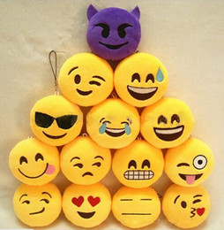 Wholesale Tv Key Chain - 2016 Christmas Gifts Key Chains 5cm Emoji Smiley Small pendant Emotion Yellow QQ Expression Stuffed Plush doll toy for Mobile bag pendant