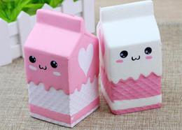 Wholesale Pink Bread - New Cute Jumbo Squishy Milk Box Cartoon Slow Rising Toys Phone Straps Pendant Sweet Cream Scented Bread Kids Fun Toy Gift