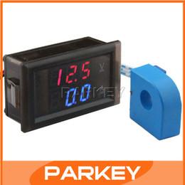 Wholesale Meter Measurer - Wholesale-Perforated type Digital Volt Amp Measure Meter 100V 100A Car Voltage Current Measurer with Current transformer CT #200964