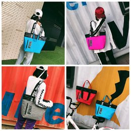 Wholesale Pink Shopping - Pink Letter Handbags VS Shoulder Bags Pink Totes Travel Duffle Bags Waterproof Beach Bag Shoulder Bag Shopping Bags 4 Colors LJJO2816