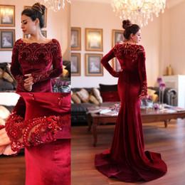 2019 robes de soirée rouge islamique 2018 arabe islamique Abaya à Dubaï robes de soirée musulmanes encolure dégagée Velours rouge foncé dentelle cristal perles perles manches longues sirène robes de bal robes de soirée rouge islamique pas cher