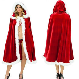 Wholesale Lady Sexy Santa - New Red cloak sexy Christmas euramerican popularity cloak Hallowmas cosplay 2 size for lady free shipping