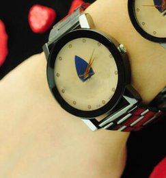 Wholesale Ad Pin - 2017 Casual AD Clover Couple Watches Unisex 3 Leaves Leaf Dial Metal Band Lover's Hours Analog Quartz Sport Relogio Masculino With Logo